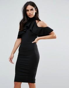 Черное платье с открытыми плечами, высоким воротом и оборками Missguided - Черный