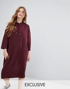Трикотажное платье с капюшоном Monki - Красный