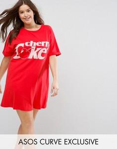 Футболка для сна с принтом Cherry Coke ASOS CURVE - Мульти