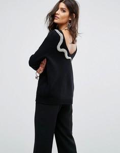 Декорированный джемпер с глубоким вырезом на спине BA&SH - Черный Ba&Sh
