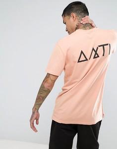 Футболка с карманом и принтом на спине Antioch - Розовый