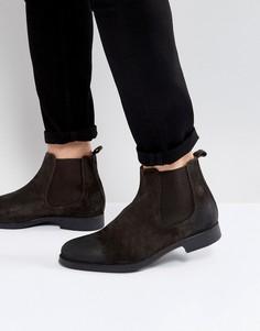 Замшевые ботинки челси коричневого цвета Selected Homme Oliver - Коричневый