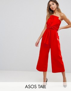 Комбинезон из фактурной ткани с декоративным узлом и драпировкой ASOS TALL - Красный