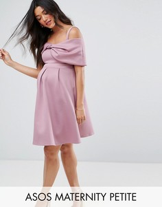 Платье мини с открытыми плечами и бантом ASOS Maternity PETITE - Фиолетовый