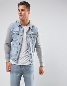 Джинсовая куртка с трикотажными рукавами и капюшоном Holliser - Синий Hollister