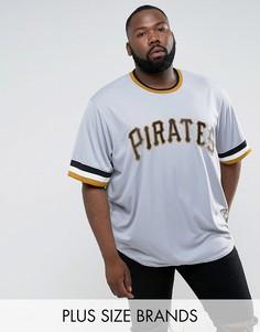 Серая бейсбольная футболка Majestic PLUS MLB Pittsburgh Pirates - Серый
