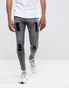 Черные джинсы скинни с эффектом кислотной стирки и рваной отделкой Illusive London - Черный