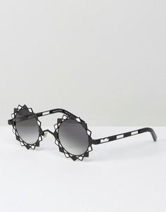 Черные круглые солнцезащитные очки Pared - Черный
