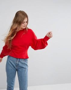 Свитшот с пышными рукавами Monki - Красный