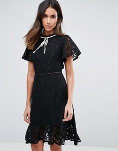 Кружевное платье с короткими рукавами и контрастной отделкой Amy Lynn - Черный