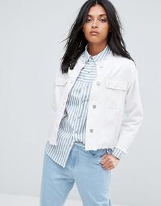Укороченная джинсовая оверсайз-куртка без воротника Waven Hanna - Белый