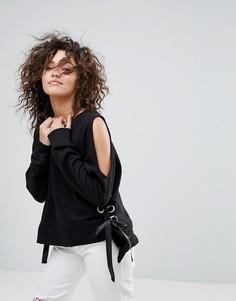 Черный свитшот с лентой-завязкой Lasula - Черный
