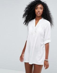 Классическое белое пляжное платье-рубашка Anmol - Белый