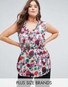 Блузка с цветочным принтом, помпонами и поясом на талии Koko - Мульти