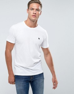 Белая облегающая футболка с круглым вырезом и логотипом Abercrombie & Fitch - Белый