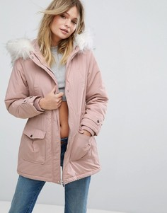 Парка с искусственным мехом на капюшоне New Look - Розовый
