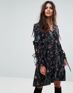 Платье с вышивкой и завязками на рукавах Vero Moda - Черный