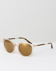 Светло-розовые круглые солнцезащитные очки Kurt Geiger - Розовый