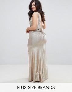 Платье макси цвета металлик с высоким воротом TFNC Plus - Золотой