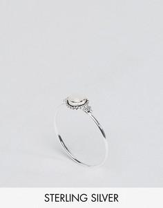 Серебряное кольцо с искусственным лунным камнем ASOS CURVE - Серебряный