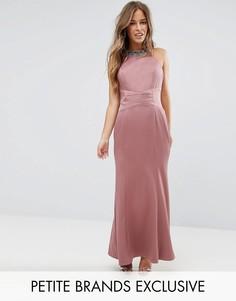 Платье макси с высоким воротом Little Mistress Petite - Розовый