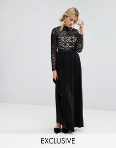 Плиссированное платье макси из кружева Little Mistress - Черный