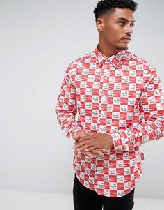 Рубашка в клетку с принтом логотипа Hype x Coca Cola - Белый