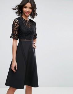 Платье миди с кружевной вставкой ASOS Premium - Черный