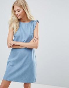Джинсовое платье с оборками Blend - Белый