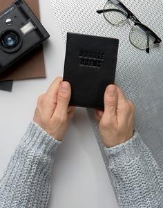 Черная кожаная обложка для паспорта с надписью Double Agent ASOS - Черный