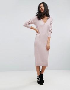 Трикотажное платье с добавлением шелка ASOS - Розовый