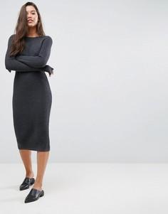 Платье миди крупной вязки со вставкой в рубчик ASOS - Серый