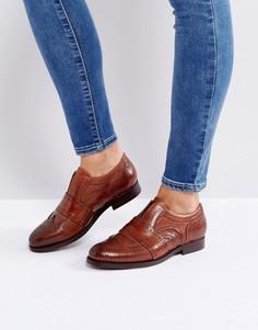 Светло-коричневые кожаные броги-слипоны Hudson London Maddie - Рыжий