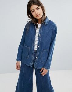 Свободная джинсовая куртка Wood Wood Nia - Синий