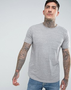 Длинная меланжевая футболка с карманом Another Influence - Серый