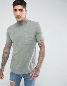 Длинная меланжевая футболка с карманом Another Influence - Зеленый