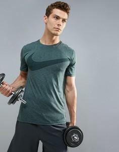 Футболка цвета хаки Nike Training Breathe HyperDry 847798-372 - Зеленый