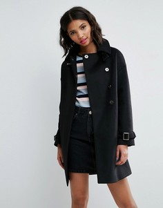 Свободное пальто с отложным воротником-трубой и пряжками ASOS - Черный