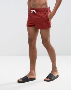 Бордовые укороченные шорты для плавания ASOS - Красный