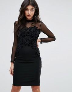 Облегающее платье с сетчатыми рукавами и высокой горловиной Lipsy - Черный