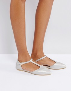Туфли с острым носком и Т-образными ремешками London Rebel - Серебряный