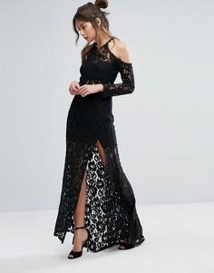 Платье с длинными рукавами и разрезом Love Triangle - Черный