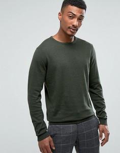 Вязаный джемпер с круглым вырезом из смеси хлопка и шелка Selected Homme - Зеленый
