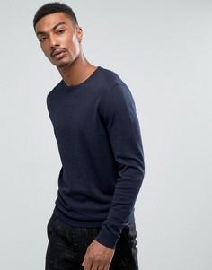 Трикотажный джемпер с круглым вырезом из смеси хлопка и шелка Selected Homme - Темно-синий
