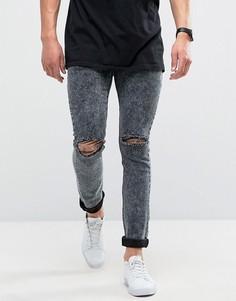 Черные зауженные джинсы с эффектом кислотной стирки и рваной отделкой Loyalty and Faith Sid - Черный