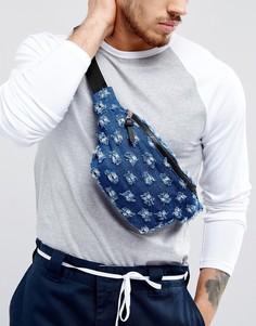 Джинсовая сумка-кошелек на пояс с прорехами ASOS - Синий