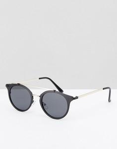 Черно-золотистые солнцезащитные очки в круглой металлической оправе ASOS - Черный