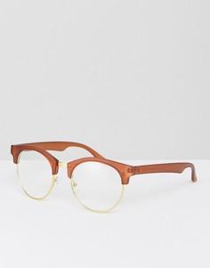 Матовые коричневые очки в стиле ретро с прозрачными стеклами ASOS - Коричневый