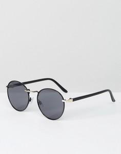 Черные круглые солнцезащитные очки с золотистой отделкой ASOS - Черный