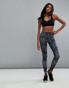 Леггинсы с отделкой цвета киви Elle Sports - Черный